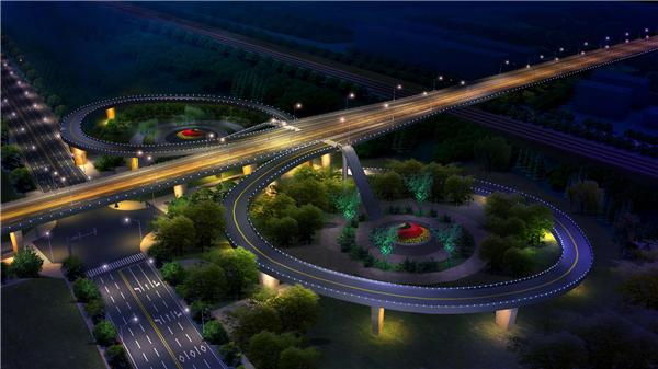 桥梁亮化工程-长青南路立交桥